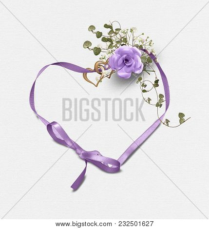 3d Illustration Of Purple Rose Bouquet With Ivy And Heart Rings On Satin Heart Shaped Ribbon Isolate