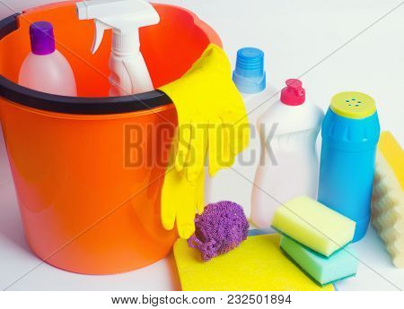 Cleaners On An Isolated White Background, Housekeeping , Supplies, Concept Of Cleanliness