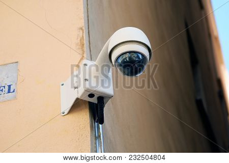 Dome Type Camera On The Wall Of The Building In France, French Riviera