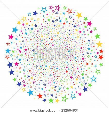 Multi Colored Decoration Stars Exploding Spheric Cluster. Vector Round Cluster Fireworks Done From S