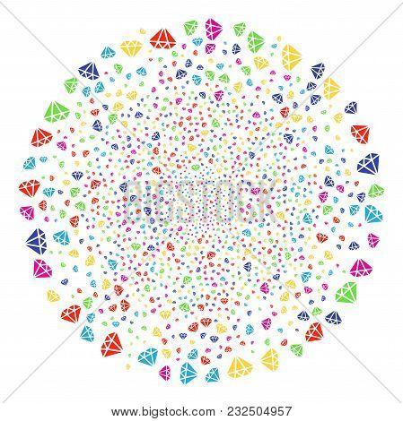 Bright Diamond Decoration Cluster. Vector Round Cluster Explosion Designed From Randomized Diamond E