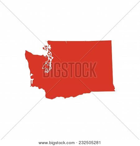 State Of Washington Vector Map Silhouette. Outline Wa State Shape Icon Or Contour Map Of The Washing