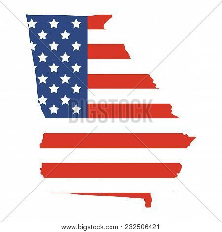 Vector Illustrationor Icon: Georgia Us State Map Shape. American State Of Georgia Map Silhouette Wit