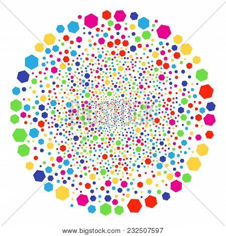 Multicolored Filled Hexagon Sparkler Sphere. Vector Round Cluster Salute Done From Randomized Filled