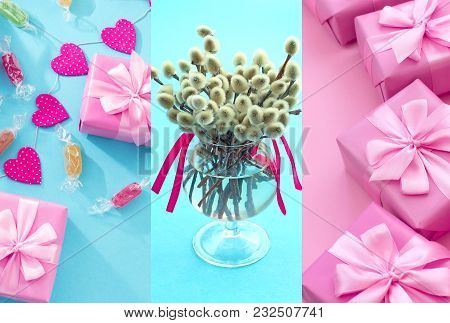 Festive Composition In A Glass Vase With Twigs Catkins. Bright Candy Garlands On A Blue Background.