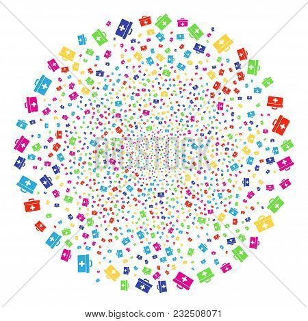 Multicolored First Aid Toolbox Decoration Sphere. Vector Cluster Burst Designed With Scatter First A