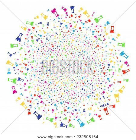 Psychedelic Flask Bang Round Cluster. Vector Cluster Explosion Done By Scatter Flask Symbols. Psyche
