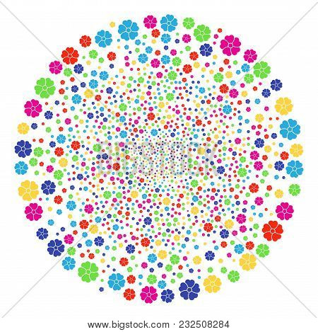 Multicolored Flower Festive Sphere. Vector Sphere Fireworks Created With Random Flower Items. Multi