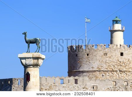 Deer Statue At The Column In The Port Of Medieval Old Town Of Rhodes Island