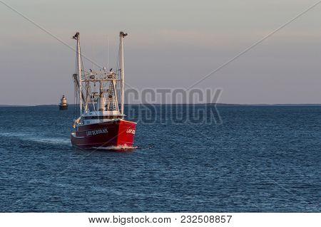 New Bedford, Massachusetts, Usa - March 19, 2018: Fishing Vessel Lady Deborah, Hailing Port Beaufort
