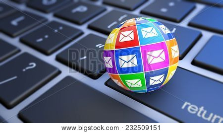 Web And Internet E-mail Digital Marketing Concept With A Computer Keyboard And Colorful Email Icons