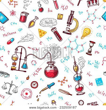 Chemistry Seamless Pattern. Chalkboard With Elements, Formulas, Atom, Test-tube And Laboratory Equip
