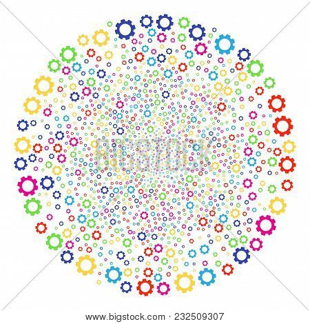 Multicolored Gear Explosion Round Cluster. Vector Round Cluster Burst Done With Randomized Gear Elem