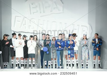 Zagreb, Croatia - March 21, 2018 : Fashion Models Wearing Clothes For Spring - Summer, Designed By A
