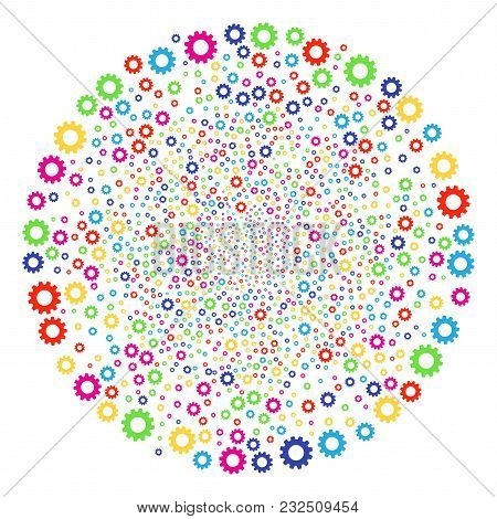 Multi Colored Gear Carnival Cluster. Vector Sphere Burst Organized With Scattered Gear Symbols. Mult