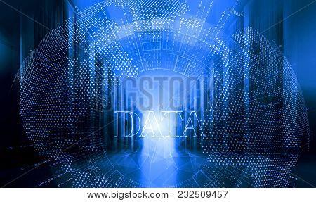 Server Room With Modern Mainframe Equipment In Data Center