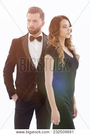 Handsome man and woman in black dress