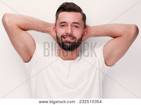 closeup.modern, relaxing young man