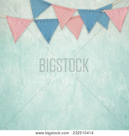 Party Flags Hanging On Green Cement Wall Background, Decorate Items For Festival, Celebrate Event