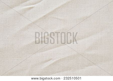 Wrinkle Cream Cotton Linen Fabric Texture Background, Detailed Closeup, Rustic Crumpled Vintage Fabr