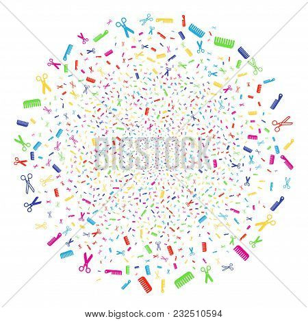 Psychedelic Hairdressing Tools Bang Globula. Vector Round Cluster Salute Organized From Scatter Hair