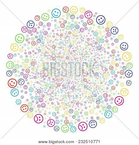Bright Happy And Sad Smiley Decoration Cluster. Vector Round Cluster Bang Combined From Scattered Ha