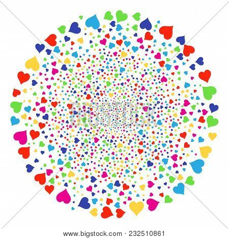 Multi Colored Hearts Suit Burst Cluster. Vector Sphere Salute Designed From Randomized Hearts Suit I