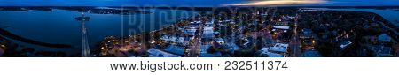 Seamless 360 degree aerial panorama of coastal town of Beaufort, South Carolina, USA.