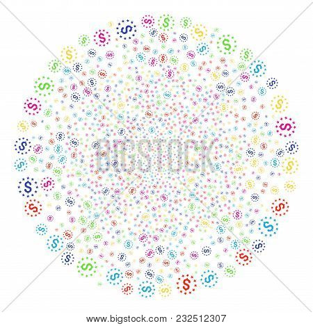 Psychedelic Dollar Stars Bang Cluster. Vector Cluster Fireworks Created With Scatter Dollar Stars Sy
