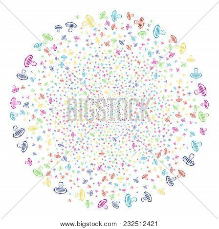 Multicolored Isolated Prisoner Sparked Round Cluster. Vector Globula Fireworks Combined With Scatter