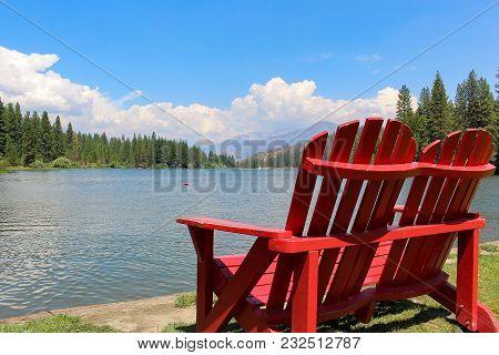 Red Adirondack Chairs By A Mountain Lake - Hume Lake