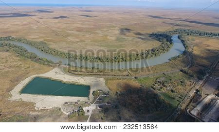 Landscape Near The Sea Of Azov, The River, An Artificial Lake And Open Spaces For Hunting And Fishin