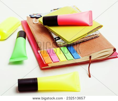 Business, Education And Technology Concept - Close Up Of Notebook, Paper Stickers, Glasses, Pencil D
