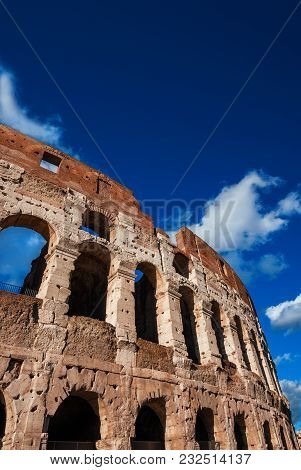 Coliseum Inner Ring Monumental Arcades And Blue Sky In Rome (with Copy Space Above)