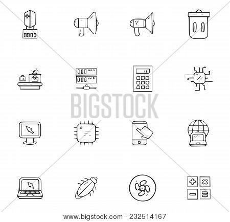 Doodle Communication Icons Set For Website Design