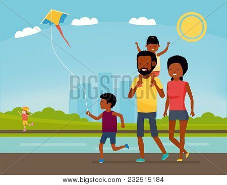 Family Is Having Fun In A Nature. African American Family In The Park. Summer Vacation. Cartoon Vect