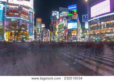 Shibuya, Tokyo, Japan - March 17, 2018: Pedestrians Crosswalk At Shibuya District In Tokyo, Japan. S