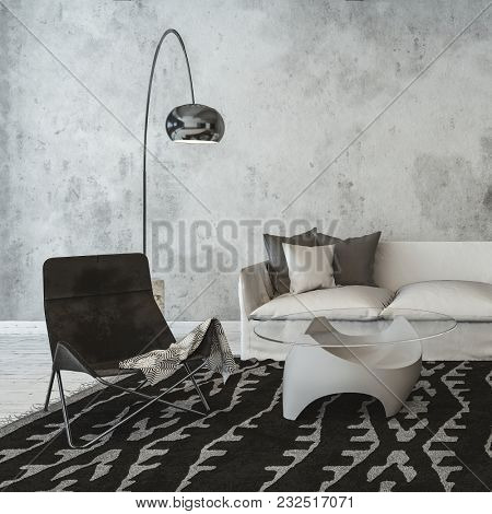 Modern rustic monochromatic grey living room with wall texture, sofa and chair on a patterned rug with a glass topped table and floor standing lamp. 3d rendering