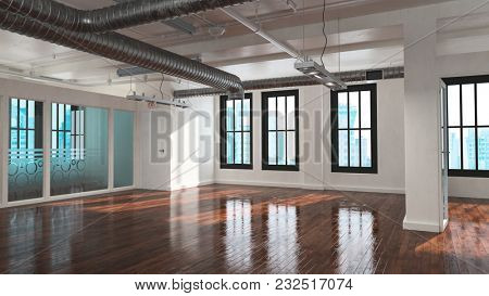 Trendy empty bare open plan industrial loft conversion with multiple windows, exposed metallic pipe ducts and a reflective highly polished wood floor. 3d rendering