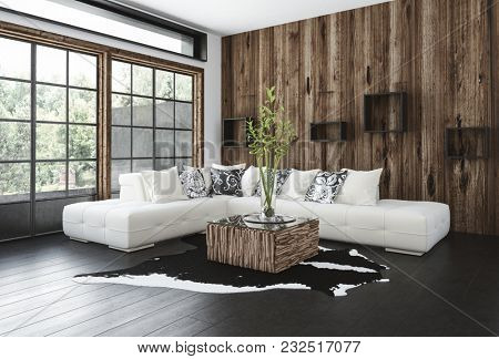 Stylish rustic living room with wood paneling on the wall and window frames, a hardwood floor, corner unit sofa and animal skin rug lit by large view windows. 3d rendering