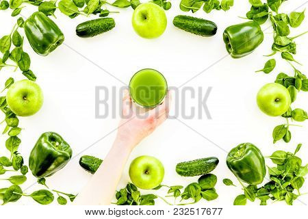 Greeny Vegetable Smoothie In Glass With Cucumber, Pepper, Apple, Celeriac On White Table Background