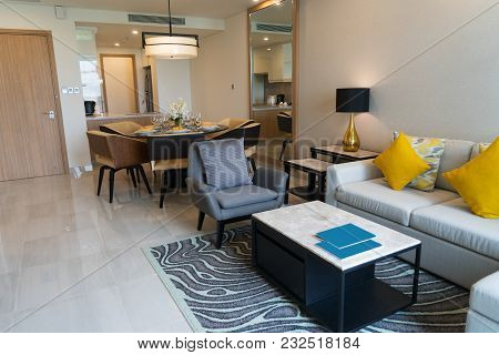 Luxurious Furnished Living Room In Studio Flat. Modern Home Interior Of Studio Apartment With Combin