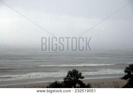 Heavy And Rough Seas Along The Coast Shoreline During A Hurricane Off The Atlantic Coast