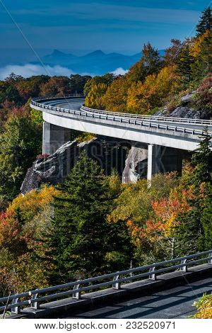 The S Of Linn Cove Viaduct In Fall Vertical