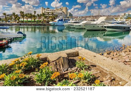 Moored Pleasure Boats, Sailboats And Yachts In Marina Of Eilat - Famous Resort And Recreation City I