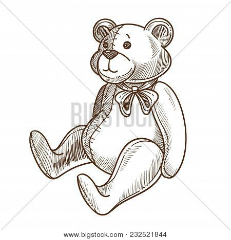 Soft Adorable Teddy Bear With Bow On Neck. Plush Toy With Soft Body And Nice Face. Funny Artificial