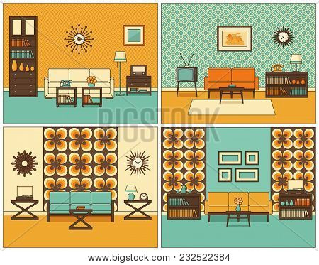 Living Room Interior. Vector. Linear Rooms With Furniture. Retro Line Home Space, House Equipment. F