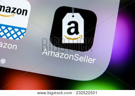 Sankt-petersburg, Russia, March 21, 2018: Amazon Seller Application Icon On Apple Iphone X Screen Cl