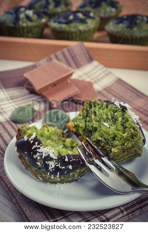 Vintage Photo, Homemade Muffins Baked With Wholemeal Flour With Spinach, Desiccated Coconut And Choc