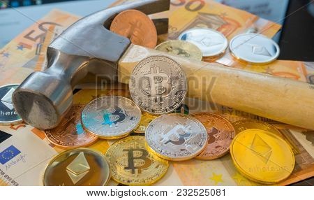 Crypto Bitcoin mining or mine for bitcoin, compared to the traditional idea of physical mining with a pickaxe
